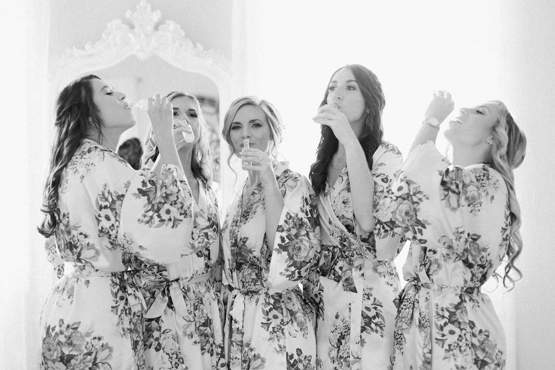 Bridal party cheers before ceremony